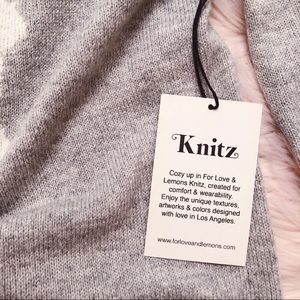 For Love And Lemons Sweaters - FOR LOVE & LEMONS Knitz Snow Bunny Grey Sweater